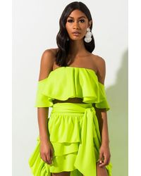 AKIRA Hold My Hand Off The Shoulder Crop Top - Green