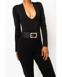AKIRA Lady And Her Pearls Pearl Buckle Stretch Belt - Black