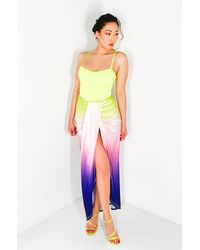 AKIRA Tropicana Ombre Satin Maxi Skirt - Multicolor