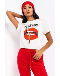AKIRA Playboy Don't Play With Fire Short Sleeve Cropped Top - Natural