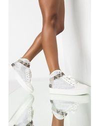 AKIRA Azalea Wang High Top Flat Diamond Sneaker In White