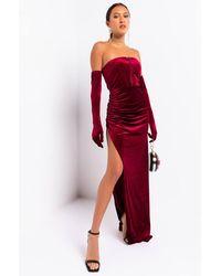 AKIRA Make Em Say Velvet Maxi Dress And Gloves Set - Red
