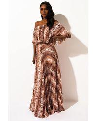 AKIRA Coasting On Love Pleated Maxi Dress - Brown