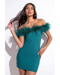 AKIRA Permanent Cold Shoulder Mesh Dress With Feather Detail In Emerald, Black - Green