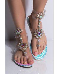 AKIRA Something About Mary Jewelled Sandal - Multicolour