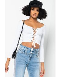 PAXTON On My Own Time Lace Up Long Sleeve Crop Top - White