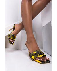 AKIRA Never Reach My Level Stiletto Sandal - Yellow