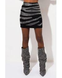 AKIRA Zebra Rhinestone High Waisted Mini Skirt - Black