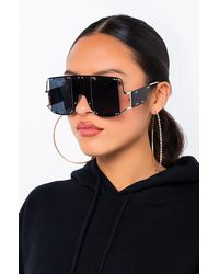 AKIRA Sun Kissed Retro Oversized Sunglasses - Black