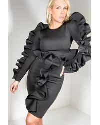AKIRA Must Have It Long Sleeve Scuba Midi Dress - Black