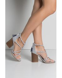 6fb1c080ebb Akira Happy Go Lucky Simple Wrap Around Heeled Sandals in Natural - Lyst