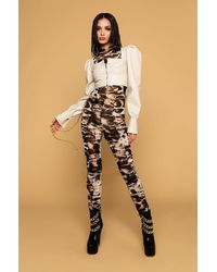 AKIRA Chain Of Love Animal Print Mesh Jumpsuit - Brown