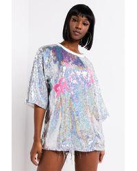 AKIRA Bride Bitches Sequin Shirt Dress - Blue