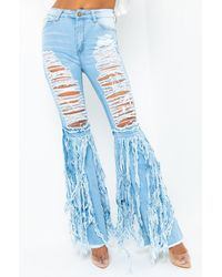 AKIRA Stop Mid Rise Flare Jeans - Blue