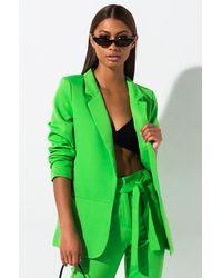 2fa221406 Who Runs The World Cinched Sleeve Blazer - Green