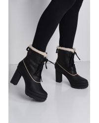 Sorel | Dacie Lace Up Waterproof Leather Heeled Bootie | Lyst