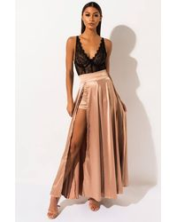 AKIRA Dancing All Night High Slit Satin Maxi Skirt - Metallic