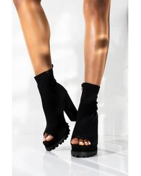 AKIRA Free Fall Open Toe Chunky Heel Bootie - Black