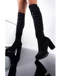 AKIRA Pullin Up Knee High Chunky Heel Boot - Black