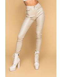 AKIRA On Duty Vegan Leather Lace Up Skinny Trousers - Natural