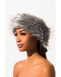 AKIRA Faux Fur Wrap Around Headband - Gray