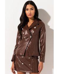 AKIRA Ballin Out Faux Leather Blazer - Brown