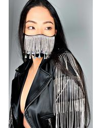 AKIRA All Da Tings Rhinestone Fringe Fashion Face Cover - Black