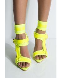 Cape Robbin Got To Be Real Open Toe Strappy Stiletto - Yellow