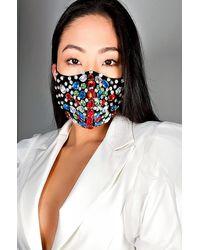 AKIRA Bow Down Rhinestone Fashion Face Cover - Black