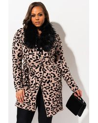 AKIRA Plus Crave You Leopard Print Knit Robe Coat - Brown