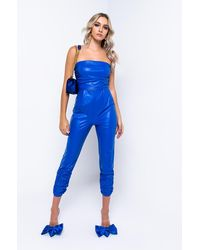 AKIRA Reasons To Care Strapless Faux Leather Jumpsuit - Blue