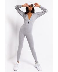 AKIRA In It To Win Ribbed Jumpsuit - Gray