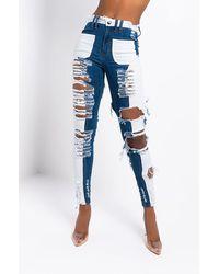AKIRA Keep Me Busy High Waisted Skinny Jeans - Blue