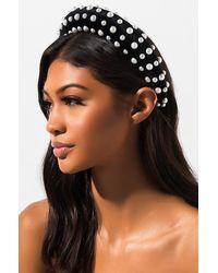 AKIRA Upper West Side Velvet Pearl Headband - Black