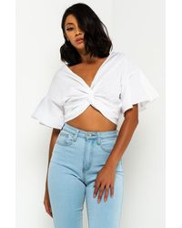AKIRA One Of A Kind Twist Front Crop Top - White