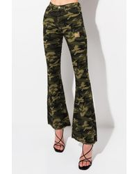 AKIRA Stacks On Stacks Camo Flare Jeans - Green