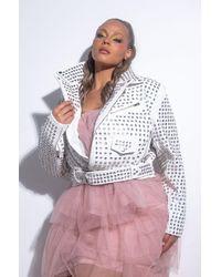 AKIRA Plus Azalea Wang That's Gossip Rhinestone Studded Moto Jacket - White