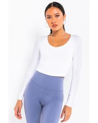 PAXTON Basic V-neck Rib Long Sleeve - White