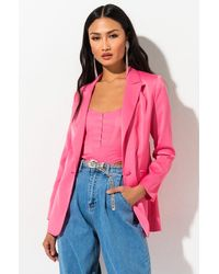 AKIRA Barbie Girl Fitted Blazer - Pink