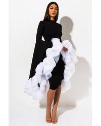 AKIRA On The Go EXAGGERATED Sleeve Midi Dress - Black