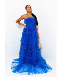 AKIRA Wild Roses Tulle Maxi Dress - Blue