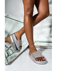 AKIRA Troublemaker Flat Diamond Sandal - Metallic