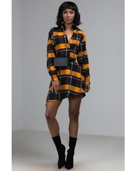 AKIRA - Mellow Yellow Plaid Shirt Dress - Lyst
