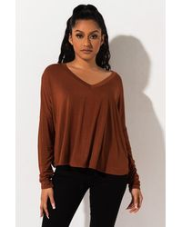 PAXTON What Do U Mean V Neck Long Sleeve Top - Brown