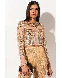 AKIRA Golden Life Sequin Beaded Blouse - Metallic