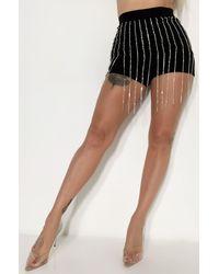 AKIRA Cmon Stud Rhinestone Fringe Shorts - Black