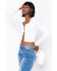 PAXTON Long Sleeve Crop Button Up - White