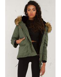 AKIRA Summers Gone Big Furry Coat - Green