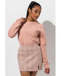 Champion Womens Small C Reverse Weave Crew Sweatshirt - Pink