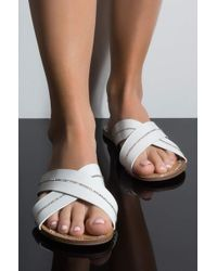 AKIRA - Lets Play A Game Flat Sandals - Lyst